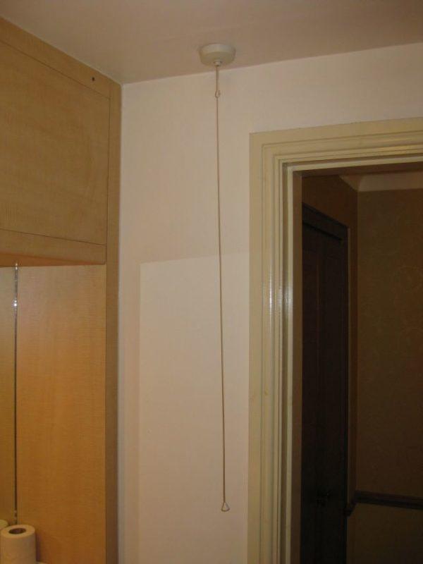 Der Lichtschalter im Bad.
