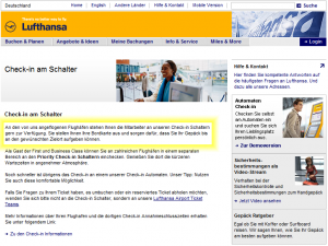 "Screenshot der Lufthansa-Website zum Thema ""Check-In am Schalter"""