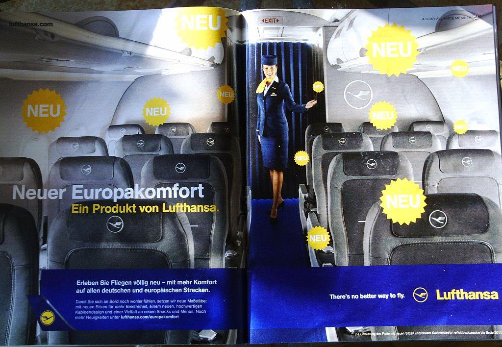 Neue Snacks bei Lufthansa / Werbung für die Europakabine ...
