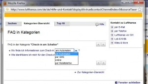 Screenshot der LH FAQ zum Thema Check-In