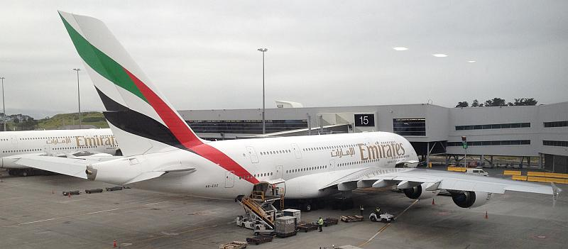 Emirates Airbus A380 A6-EDZ in Auckland