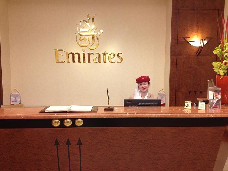 Der Empfang der Emirates Lounge in Düsseldorf