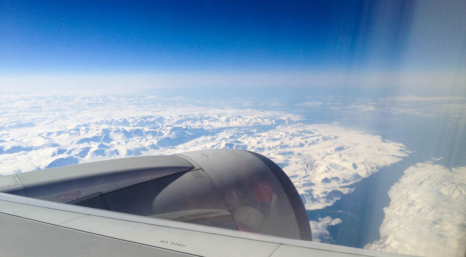 Irgendwo über Grönland auf dem Weg nach Nordamerika