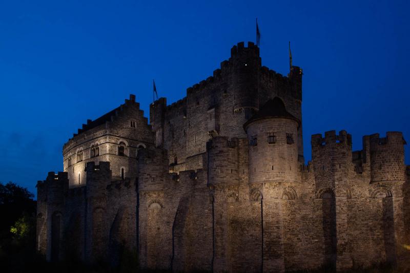Burg Gravensteen bei Nacht