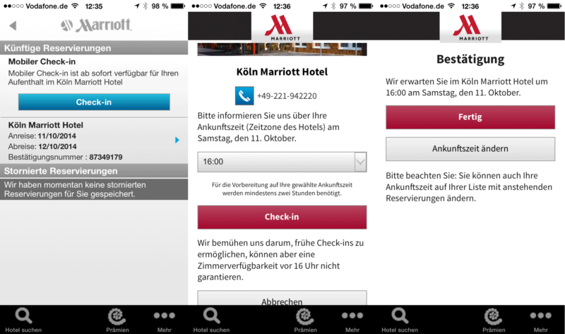 Marriott Mobil-Check-In in drei Schritten