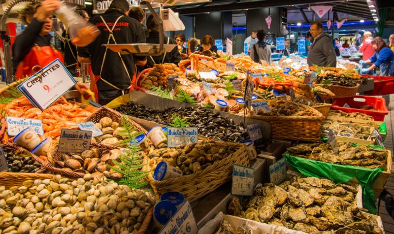 Meeresfrüchte auf dem Marché Victor Hugo in Toulouse