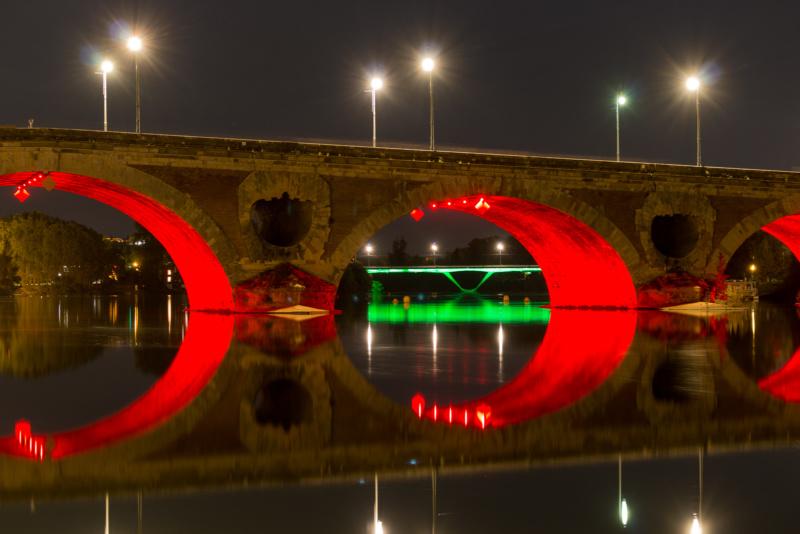 Detail der Pont Neuf bei Nacht