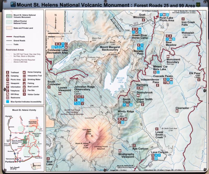 Übersichtstafel über das Gebiet des Mount St. Helens'