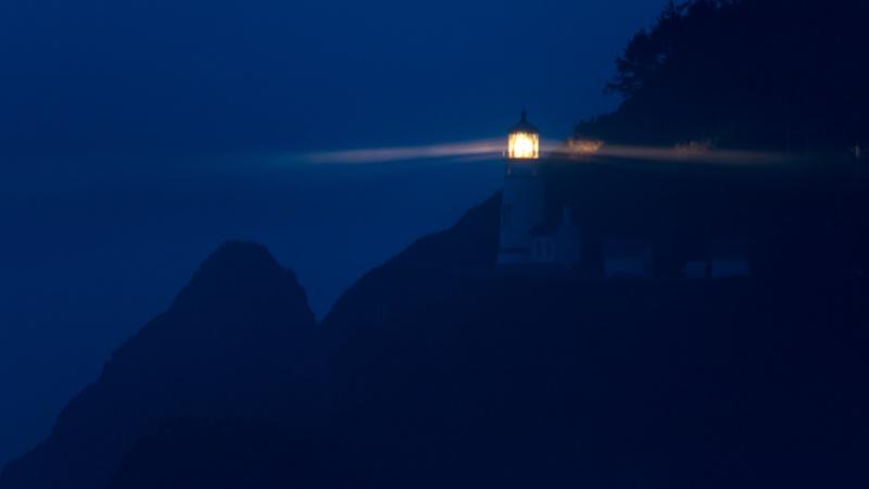 Heceta Head Lighthouse weit nach Sonnenuntergang