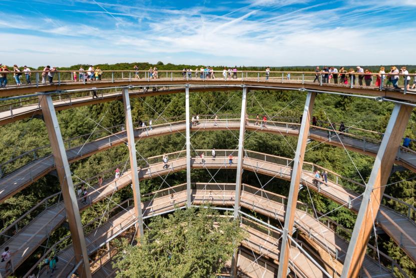 Über eine umlaufende Rampe erklimmt man den Aussichtsturm des Baumwipfelpfad Steigerwald