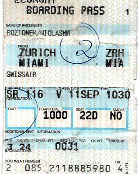 Die Original-Bordkarte von Schicksalsflug Swissair 116, Foto: Niclas Bocionek