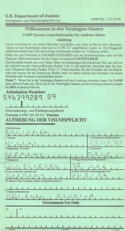 Die Einreisekarte für die USA war nun überflüssig, Foto: Niclas Bocionek