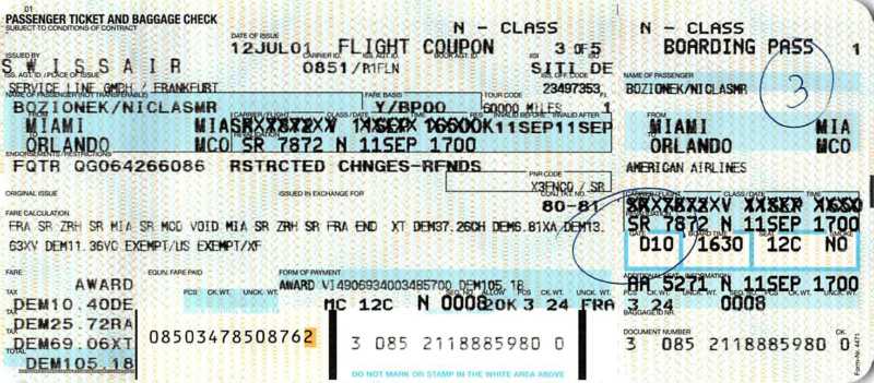 Ticket nach Orlando - nicht mehr genutzt, Foto: Niclas Bocionek