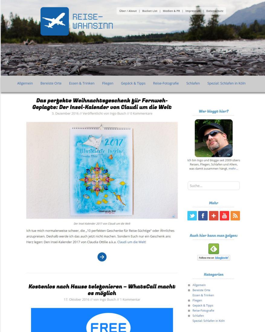 Das Design der Startseite von Reise-Wahnsinn. de 2014-2016