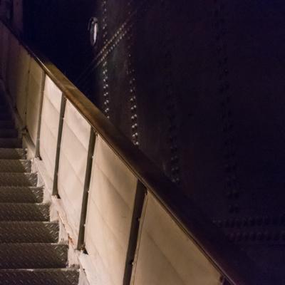 Die Gangway des Schnelldampfers Lahn