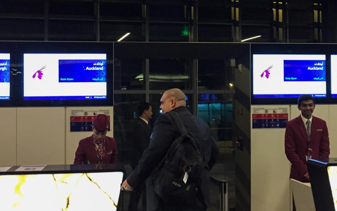 Boarding zum Erstflug von QR 920