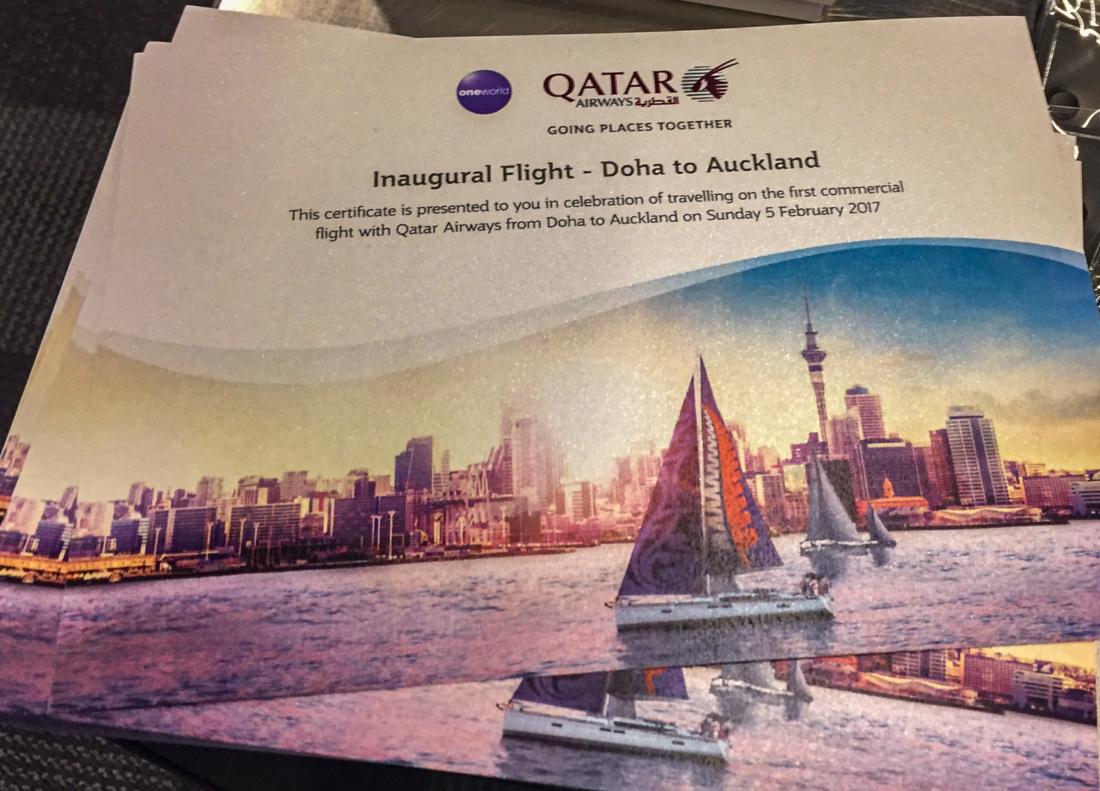 Erstflugszertifikat für jeden Passagier von QR 920
