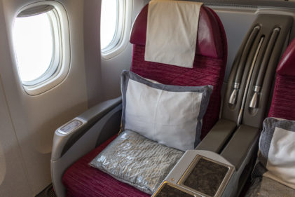 Mein Sitz: 6K in der Business Class der Qatar Airways
