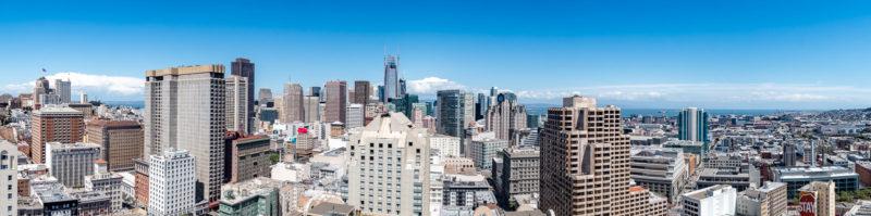 Innenstadt-Panorama vom Balkon meines Zimmers im Hilton San Francisco Union Square
