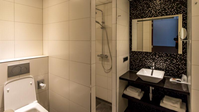 Bad im modernen Zimmer im Hotel De Lindeboom - geräumig und barrierefrei
