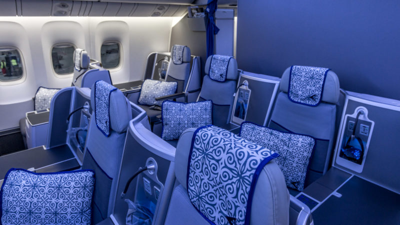 Die Business Class Kabine der Air Astana ist 1-2-1 bestuhlt