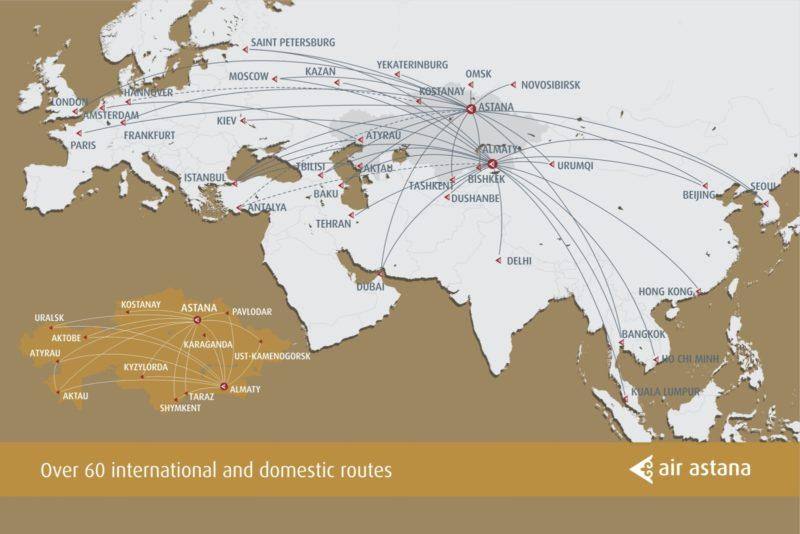 Das Routen-Netzwerk der Air Astana