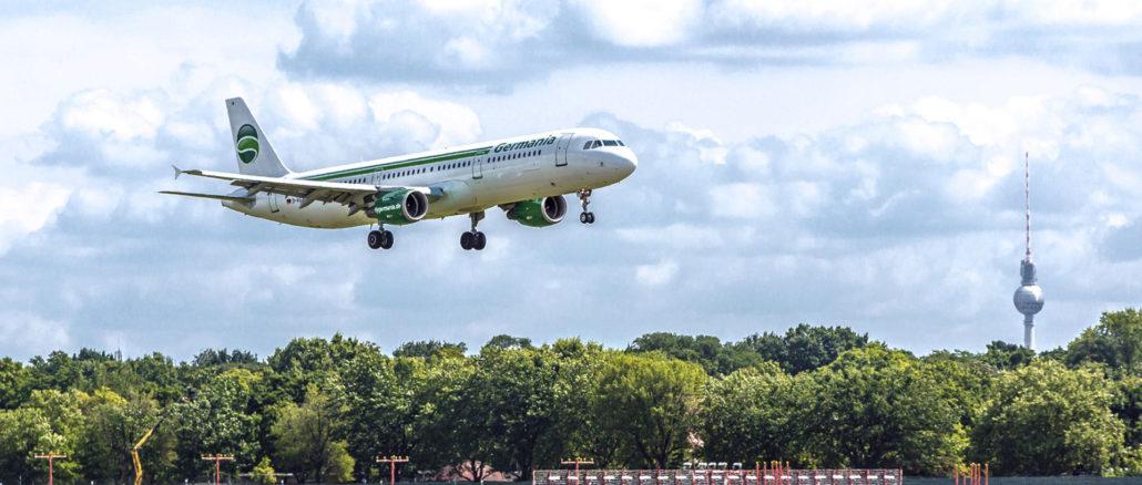 Ein Anblick der nun Geschichte ist: Ein Germania-Flieger im Endanflug. (Foto: Germania / Karsten Kießling)