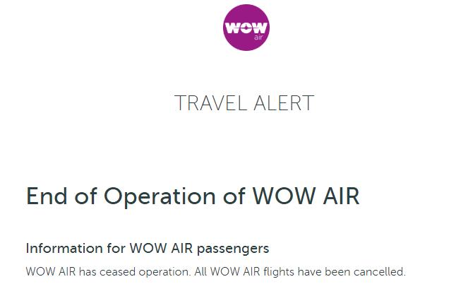 Die Bekanntgabe der Einstellung des Flugbetriebs von WOW Air am 28.03.2019