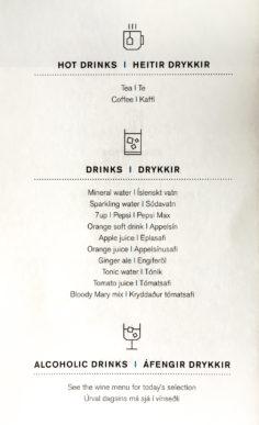 Die Getränkekarte der Saga Class auf dem Erstflug der Icelandair von Düsseldorf nach Keflavik