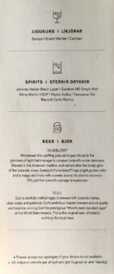 Die Karte der alkoholischen Getränke in der Saga Class auf dem Erstflug der Icelandair von Düsseldorf nach Keflavik