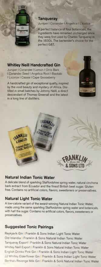"""Teil 2 der """"Gin Library"""" in der Saga Class der Icelandair: Die internationalen Gins und das Tonic-Water-Angebot"""