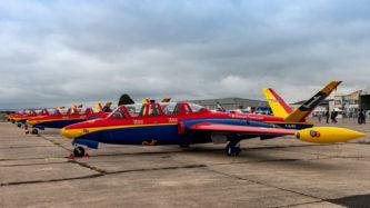 """Die Fouga Magister der """"Patrouille Tranchant"""" auf der Air Legend 2019 in Melun-Villaroche"""