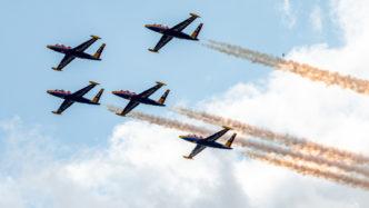 """Die """"Patrouille Tranchant"""" mit Fouga Magister auf der Air Legend 2019 in Melun-Villaroche"""