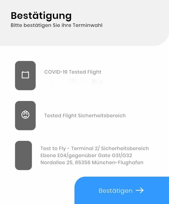 Vor Abflug erhalten die Passagiere Informationen zum Covid-Schnelltest und die Möglichkeit einen Termin für den Test zu vereinbaren (Foto: @LouLouMcFly)